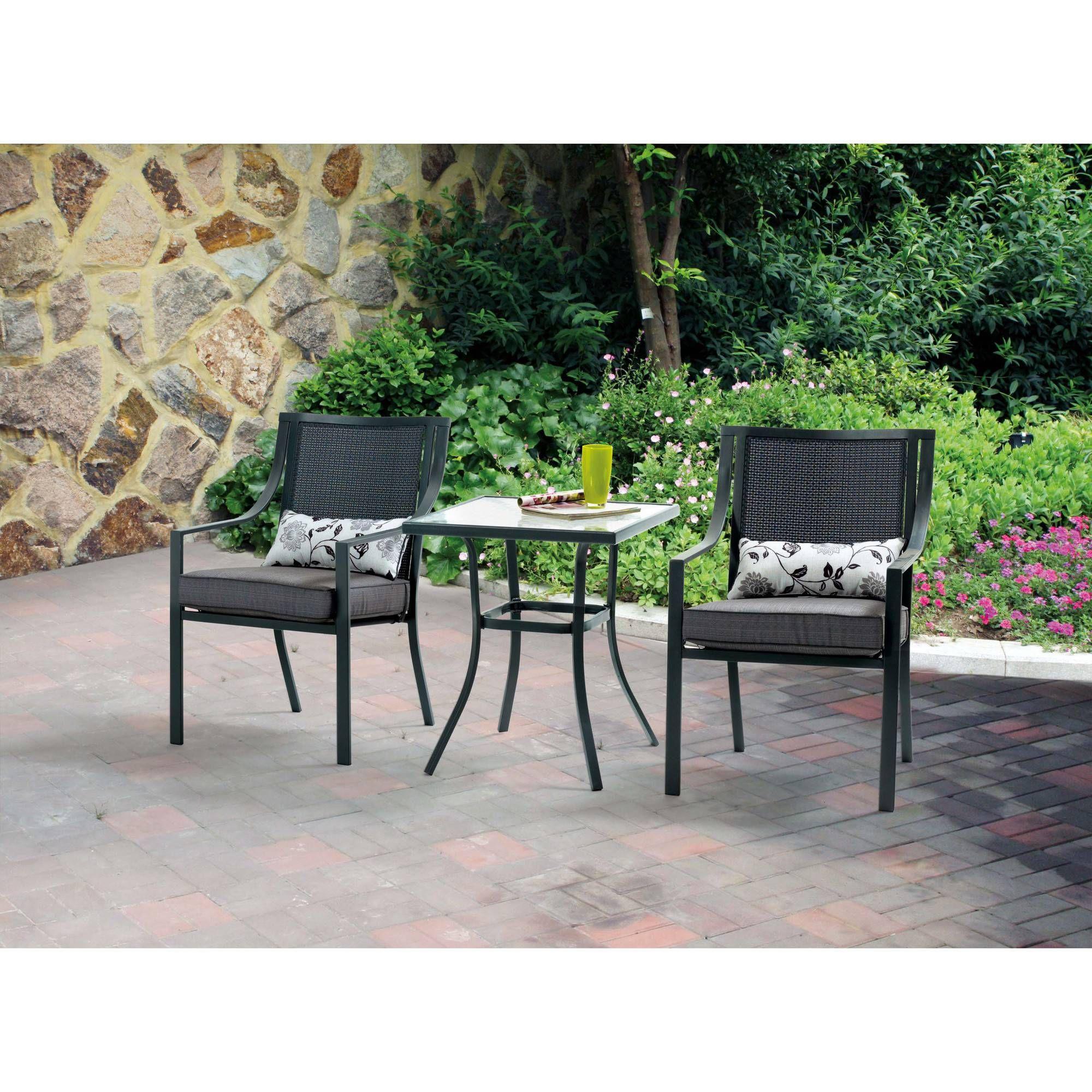 Mainstays Alexandra Square 3 Piece Outdoor Bistro Set Walmart Com Outdoor Bistro Set Outdoor Patio Set Outdoor Patio Table