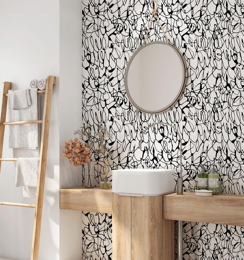 Minimalist Removable Wallpaper Abstract Wallpaper Modern Etsy In 2020 Removable Wallpaper Abstract Wallpaper Peel And Stick Wallpaper
