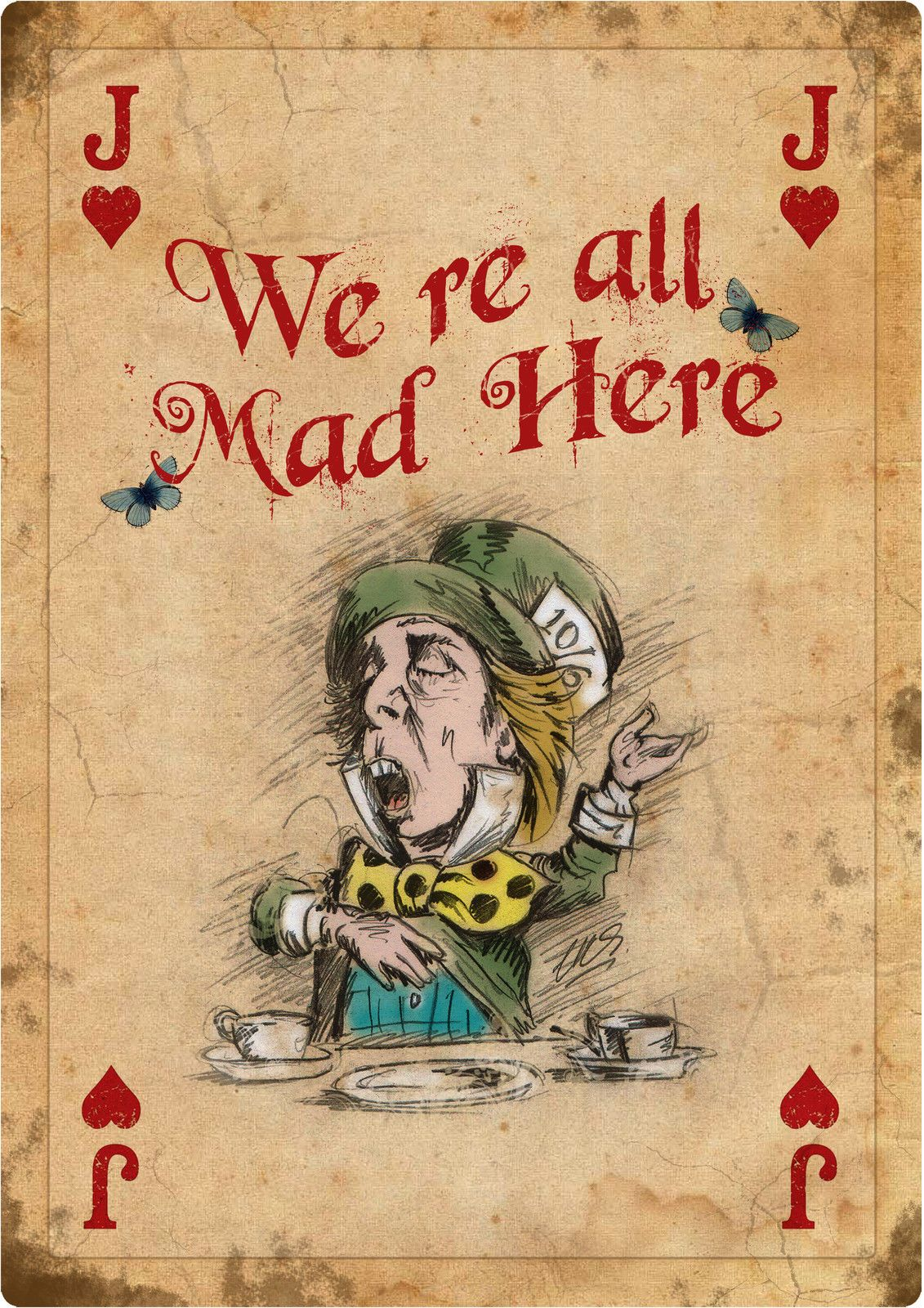 4 Alice In Wonderland Giant Vintage Playing Cards Mad Hatter Tea