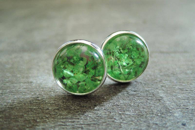 Stud Earrings – Free shipping Real Flowers Stud Earrings green  – a unique product by MadamebutterflyMeagan on DaWanda