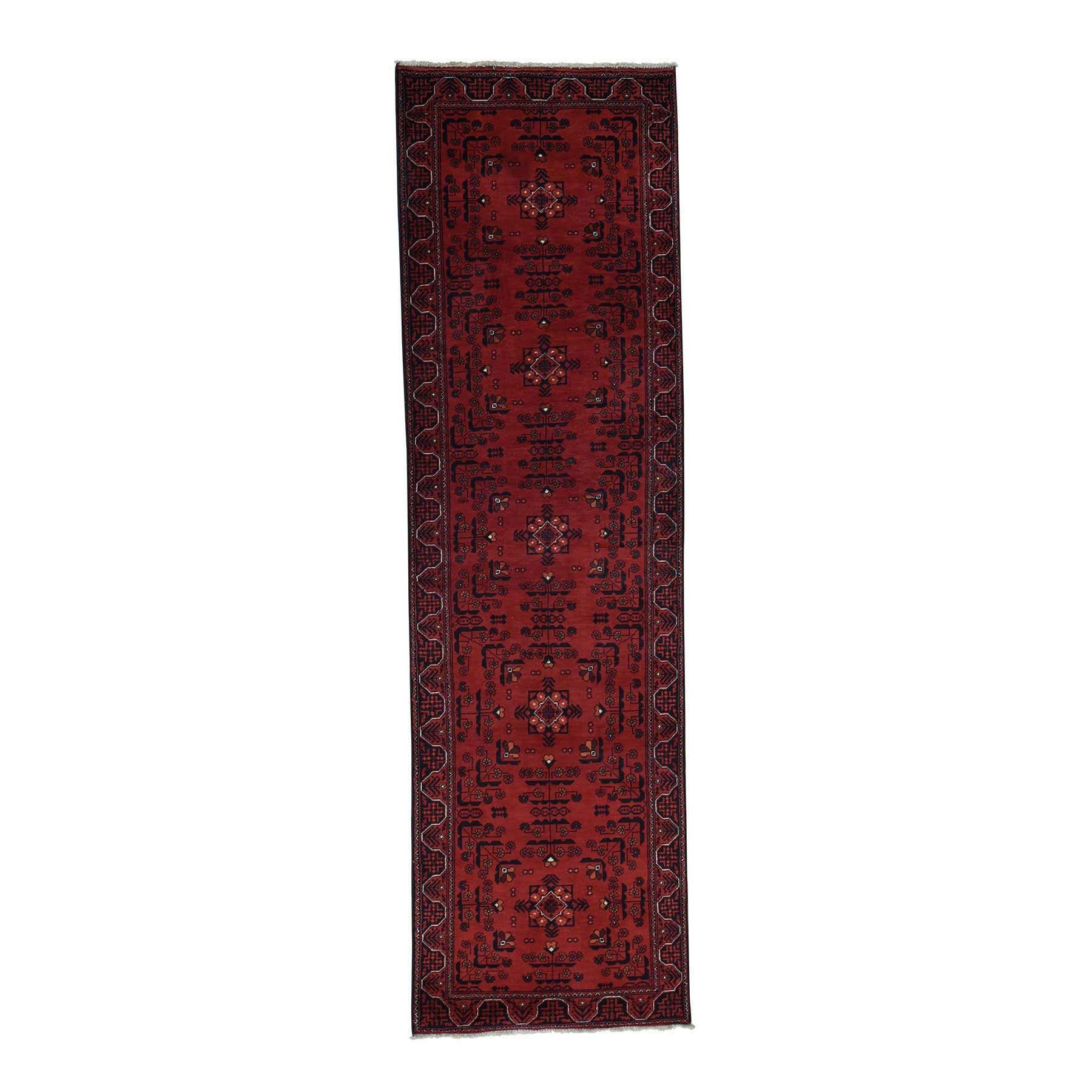 """1800getarug 100 Percent Wool Afghan Khamyab Hand-Knotted Runner Rug (2'10x9'6) (Exact Size: 2'10"""" x 9'6""""), Red, Size 3' x 10'"""