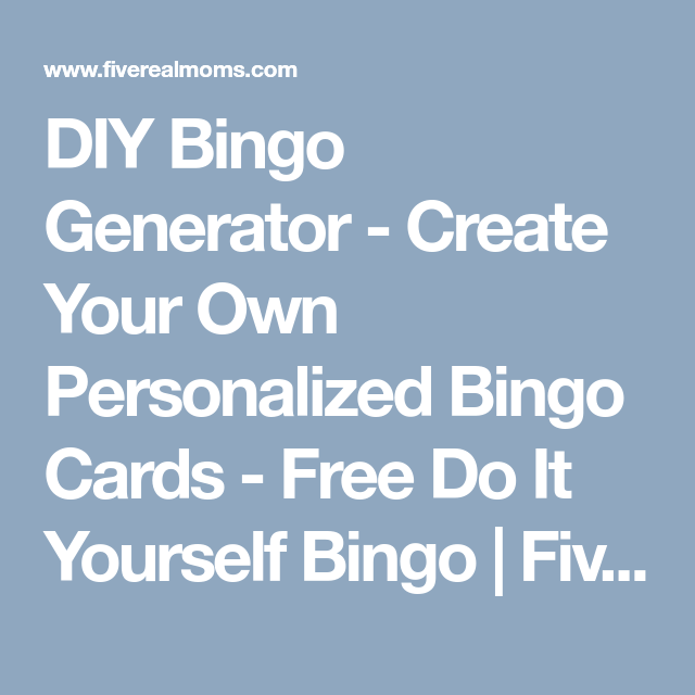 Diy bingo generator create your own personalized bingo cards diy bingo generator create your own personalized bingo cards free do it yourself bingo solutioingenieria Images