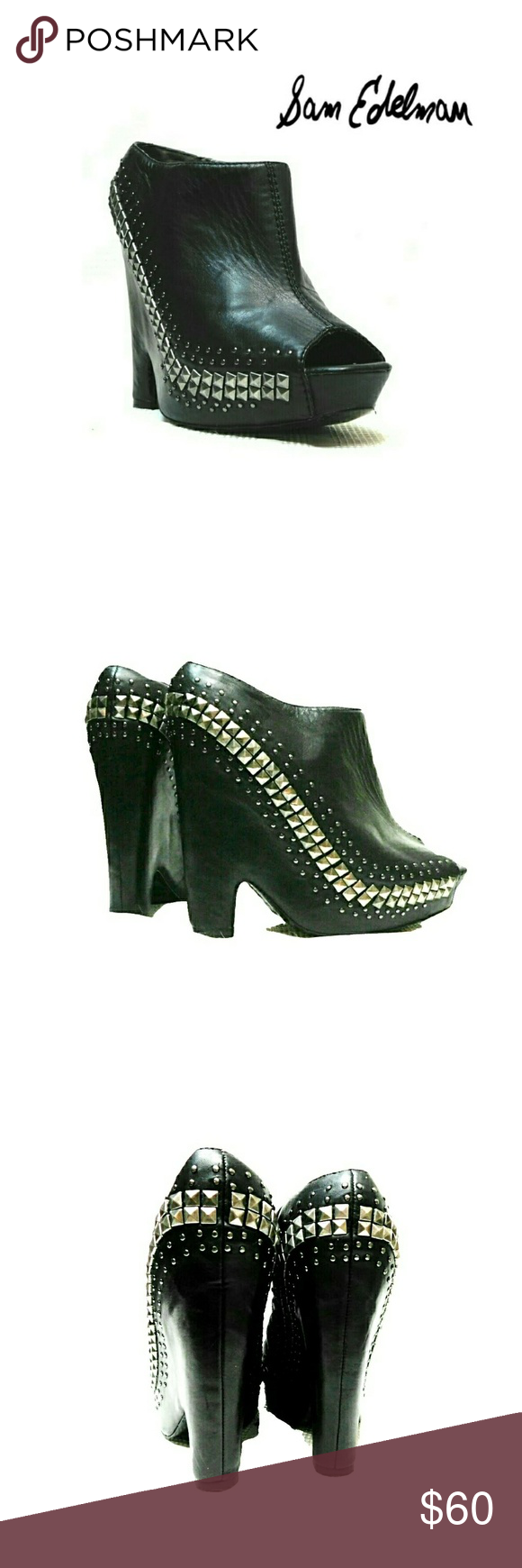 7df0f1217af SAM EDELMAN BLACK STUDDED PEEPHOLE WEDGES SAM EDELMAN WOMENS BLACK SILVER  STUDDED WEDGES Pre-loved Actual Pics Sz 8 1 2 Oh What Fun!