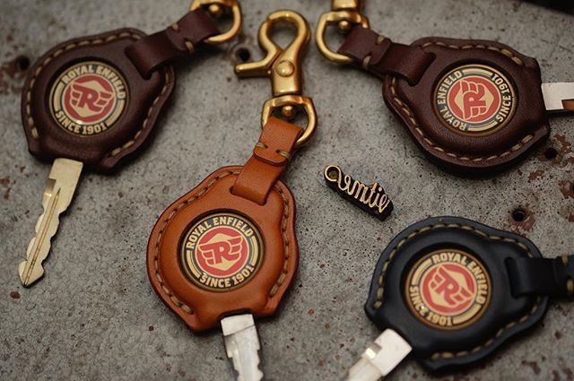 Handmade Tochigi Leather Royal Enfield Key Cover With Tag Name