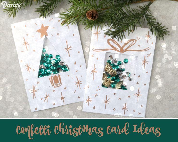 diy christmas card ideas confetti present card  darice