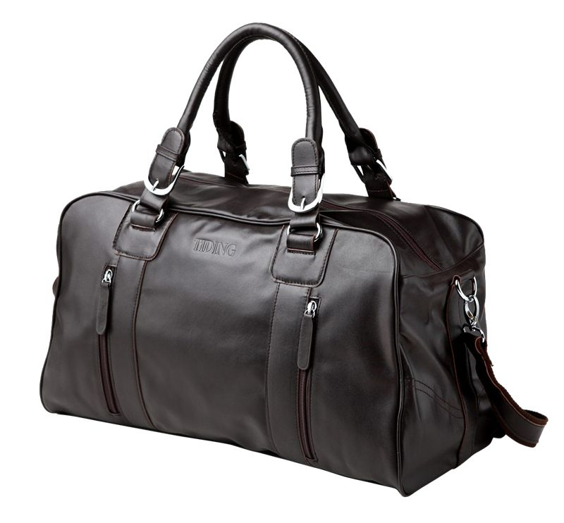 nice Baigio Leather Men Travel Bag Overnight Travel Duffle Handbag ...