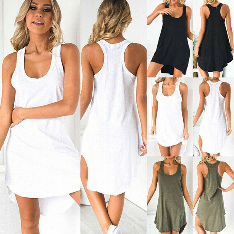 Damen Bodycon Kurz Minikleid Tunika Party Sommerkleid Freizeitkleid Longshirt
