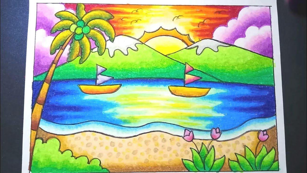 Menggambar Dan Mewarnai Pemandangan Pantai Dengan Gradasi