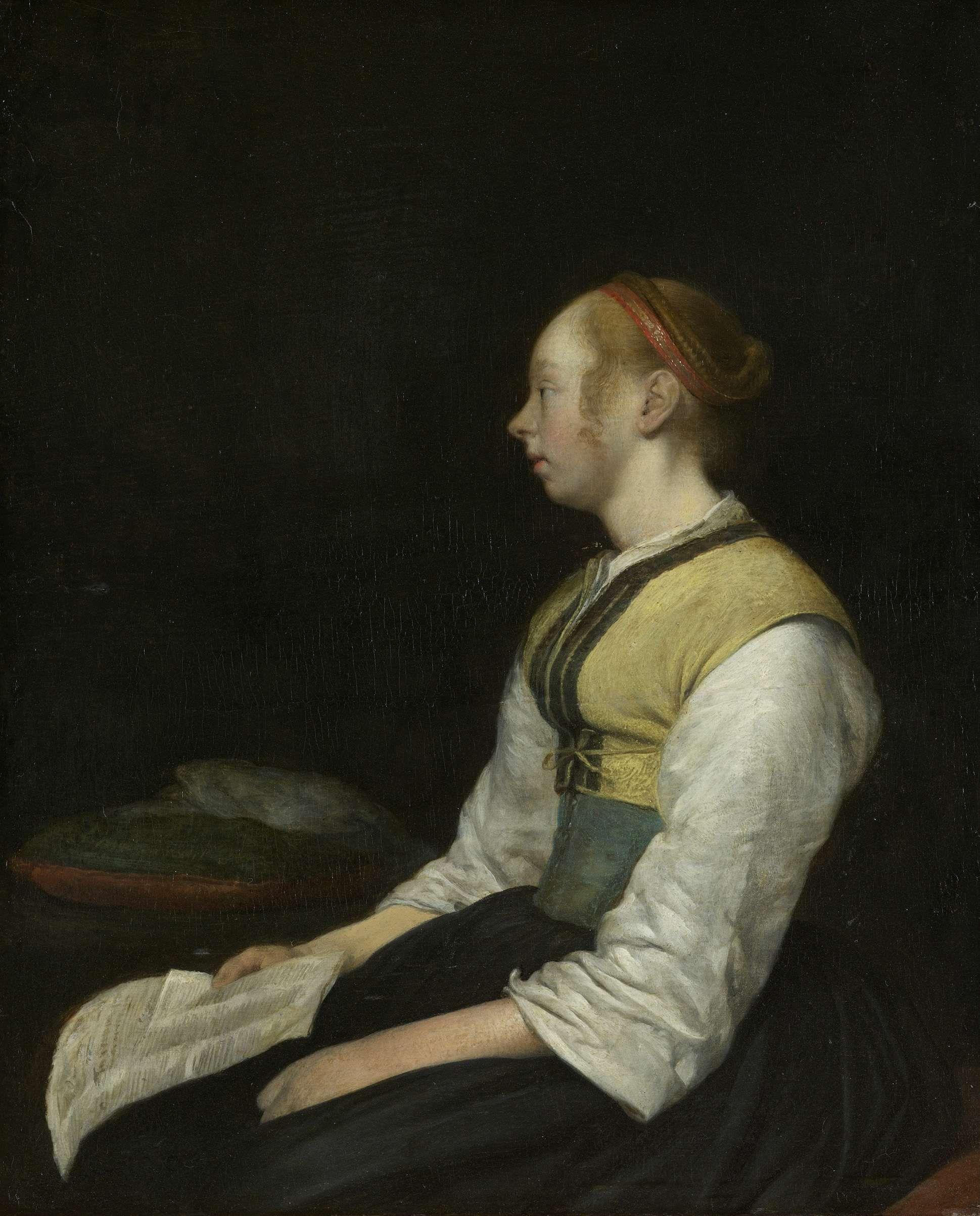 Gerard ter Borch, Zittende jonge vrouw (waarschijnlijk Gesina ter Borch) (1650-60, Rijksmuseum, Amsterdam)