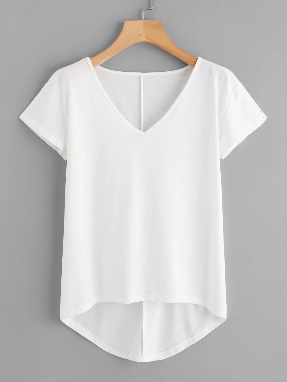 Photo of Solid Dip Hem T-shirt