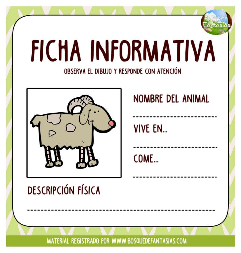 Fichas Informativas De Animales Nombre Y Caracteristicas Texto Informativo Fichas Etiquetas Preescolares