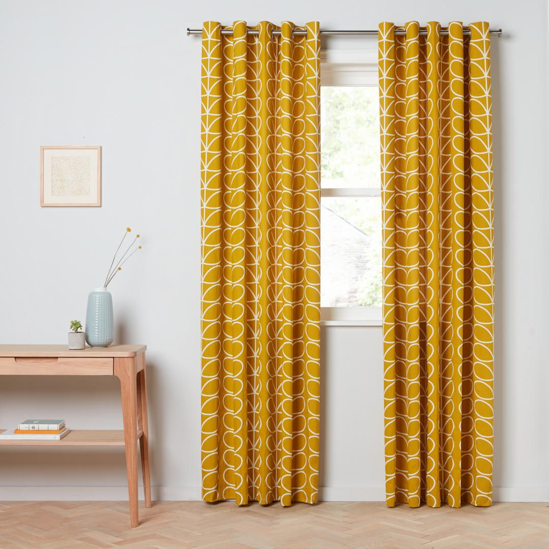 Orla kiely linear stem pair lined eyelet curtains dandelion