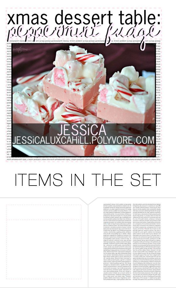 """""""xmas dessert table: peppermint fudge"""" by tip-glitter-girls ❤ liked on Polyvore featuring art and jessicastips"""