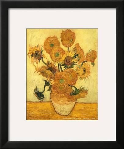 Framed Art Print Vase Of Fifteen Sunflowers C 1889 By Vincent