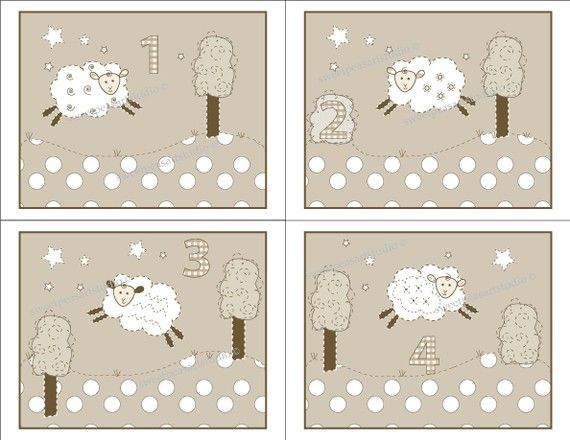 Sweet Lambie Sheep Counting 1 2 3 4 Art Prints By