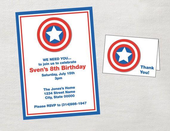 captain america party invitation