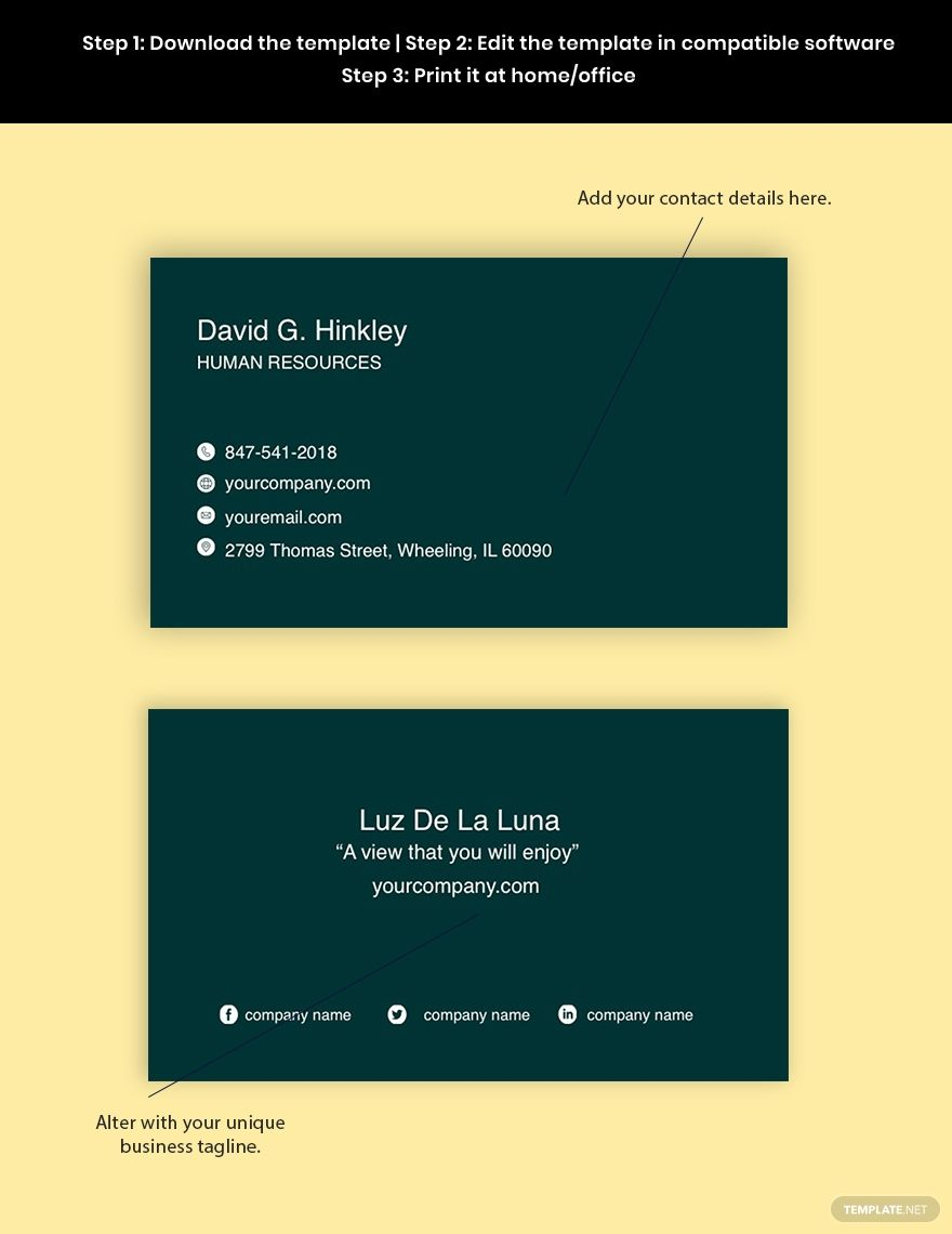 Free Sample Hr Business Card Template Word Doc Psd Apple Mac Pages Illustrator Business Card Template Word Business Card Template Free Business Card Templates