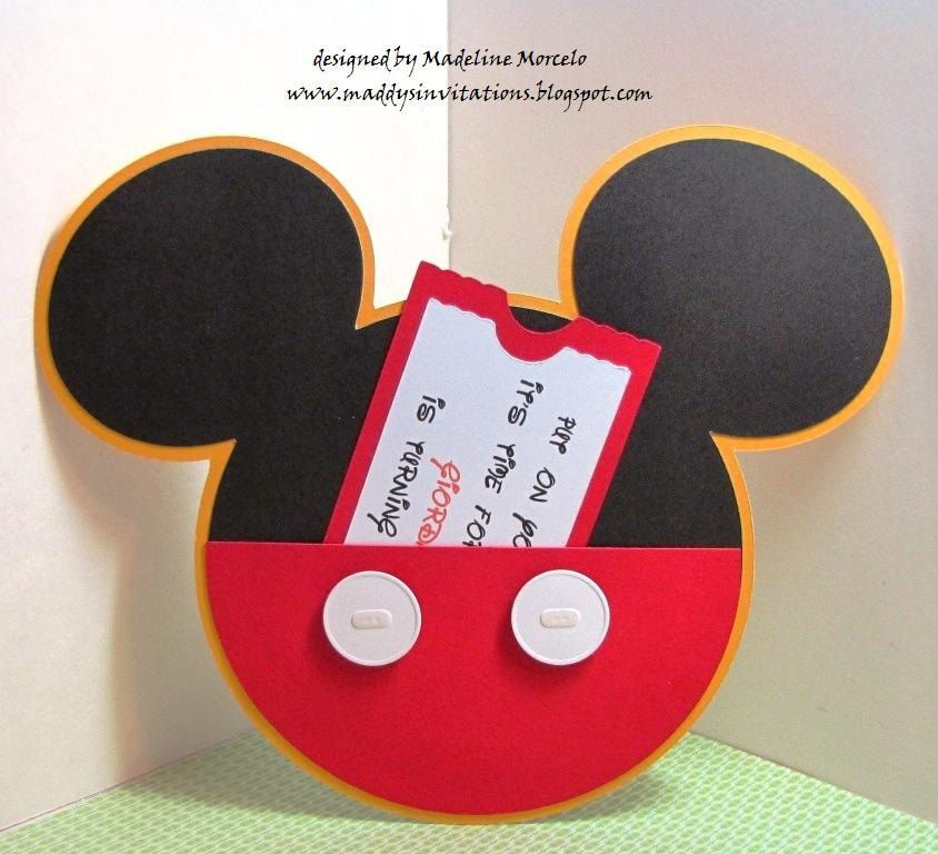 HANDMADEMickey Mouse Pants and Ears Birthday Invitation by – Handmade Mickey Mouse Birthday Invitations