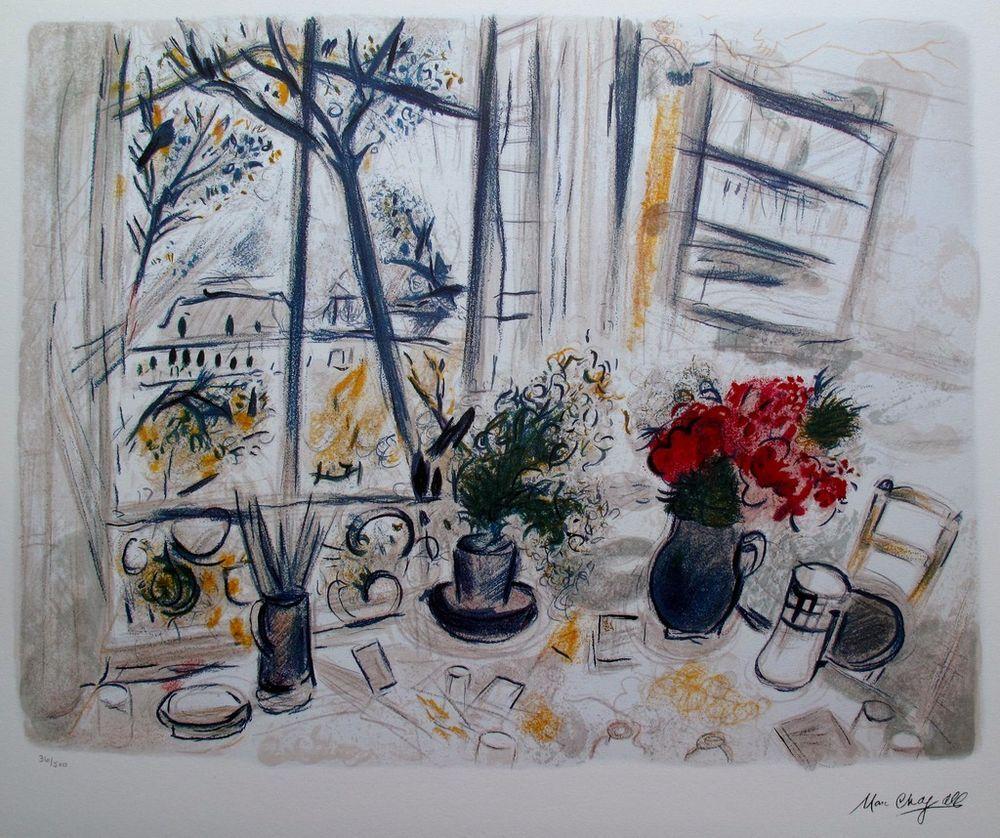 """Marc Chagall /"""" FLEUR DU PARC/"""" Facsimile Signed Limited Edition Lithograph"""