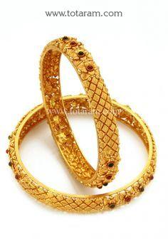 22K Gold Bangles Temple Jewellery Set of 2 1 Pair Totaram