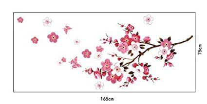 Amazon Com 1 X Cherry Blossom Decal Cherry Blossom Wall Decal Tree Branch Stickers Girl Floral Wall Rooms Home Decor Peach Blossom Flower Floral Wall Sticker