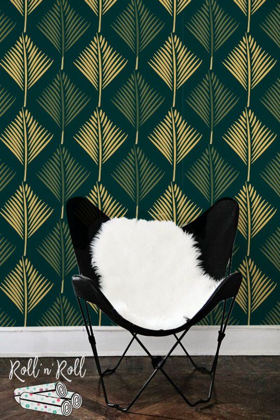 Palm leaf wallpaper abstract leaves wall mural green removable or traditional also rh pinterest