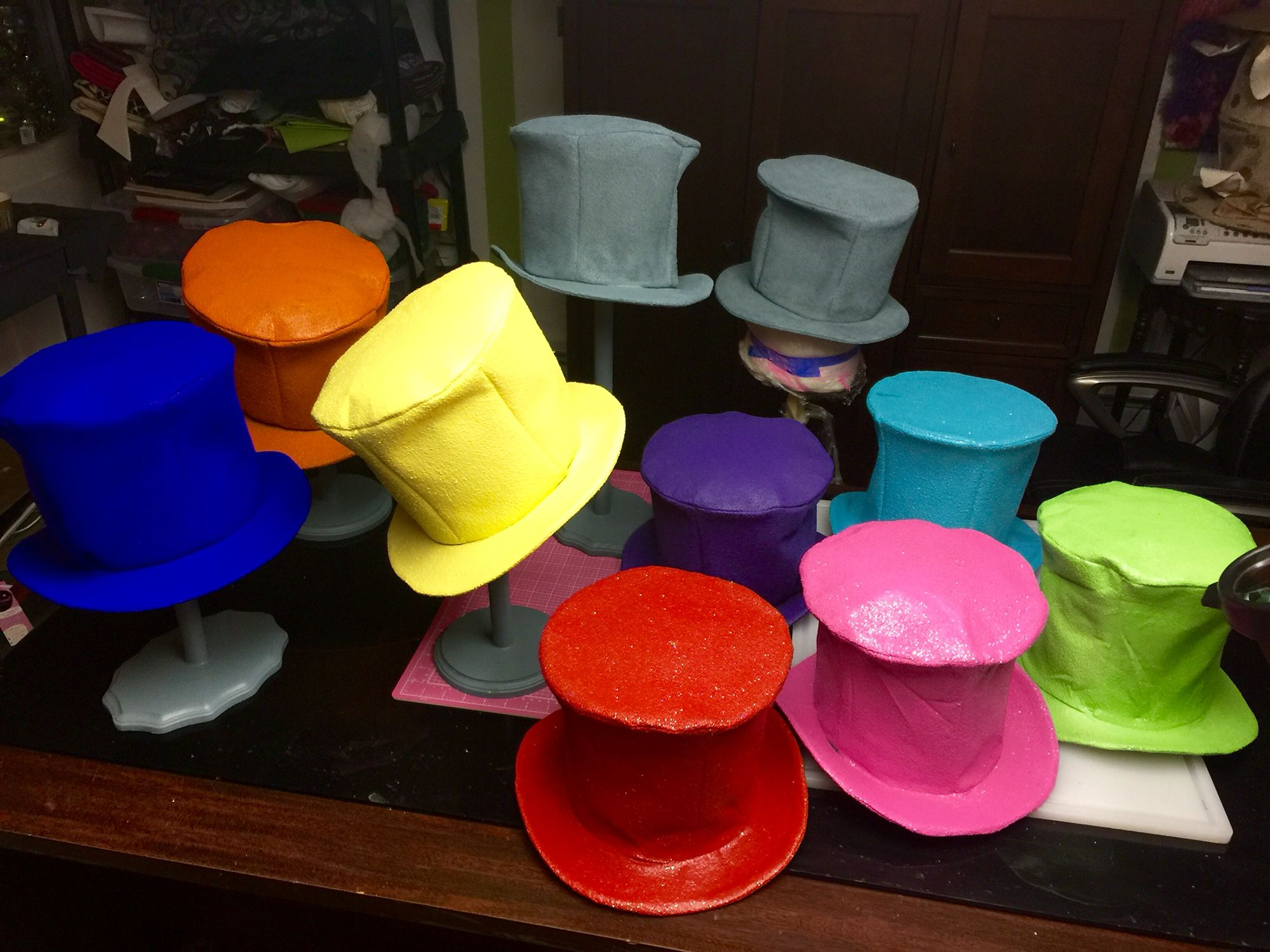Mad hatter tea & Thatu0027s ten top hats the gray ones are just primed... Once decorated ...