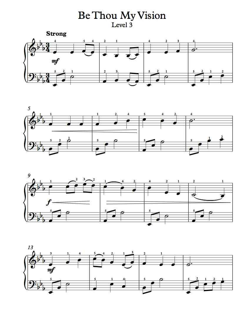 Free Piano Arrangement - Be Thou My Vision - Level 3   Free
