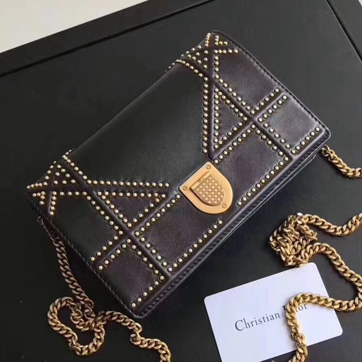 6dada9f188 Dior Small Diorama Clutch with Flap In Studded Calfskin Black 2017 ...