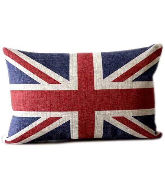 SUMMER SALE - 12x18 union jack flag linen lumbar pillow - decorative eco friendly pillow