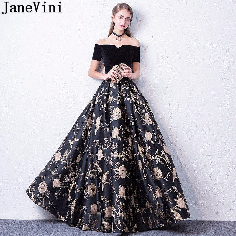 JaneVini Black Floral Flowers Long Party Dresses For Wedding Formal Gowns  Short Sleeve Gold Print Bridesmaid c04b71bafab0