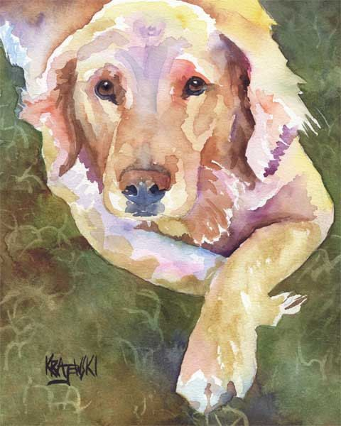 GOLDEN RETRIEVER Contemporary Watercolor ART Print by Artist DJR