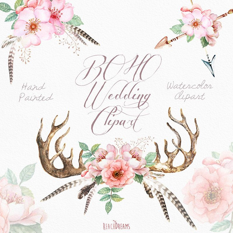 Watercolor Wedding Clip Art Antlers Stag Horns Arrows Feathers