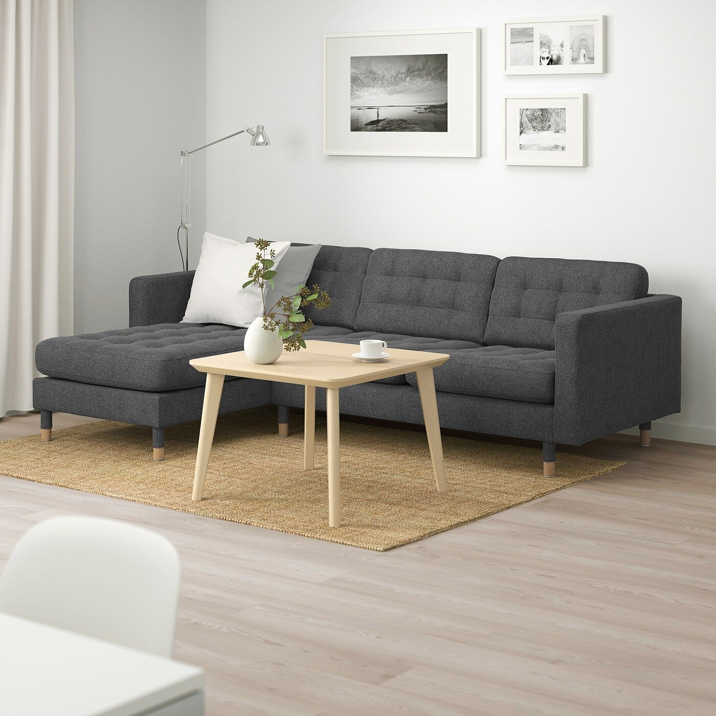 Landskrona 3er Sofa Mit Recamiere Gunnared Dunkelgrau Holz 3er Sofa Sofa Stoff Und Recamiere