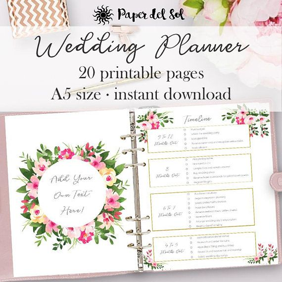 Wedding planner printable wedding planner pages do it yourself wedding planner printable wedding planner pages do it yourself binder printables checklist planning book a5 pages instant download a5 and planners solutioingenieria Image collections