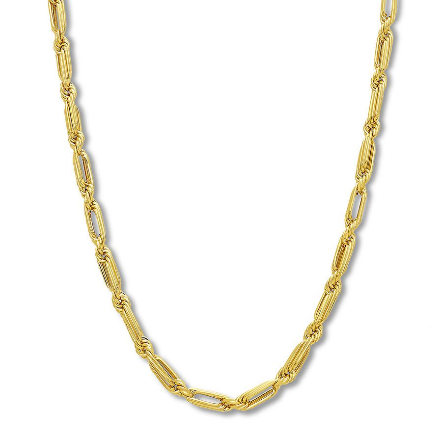 Men S Interlocking Link Chain Necklace 10k Yellow Gold 22 713786200 Kay Mayisgoldmonth Gold Necklace Mensje With Images 16 Inch Choker Gold Necklace Jewelry Advice