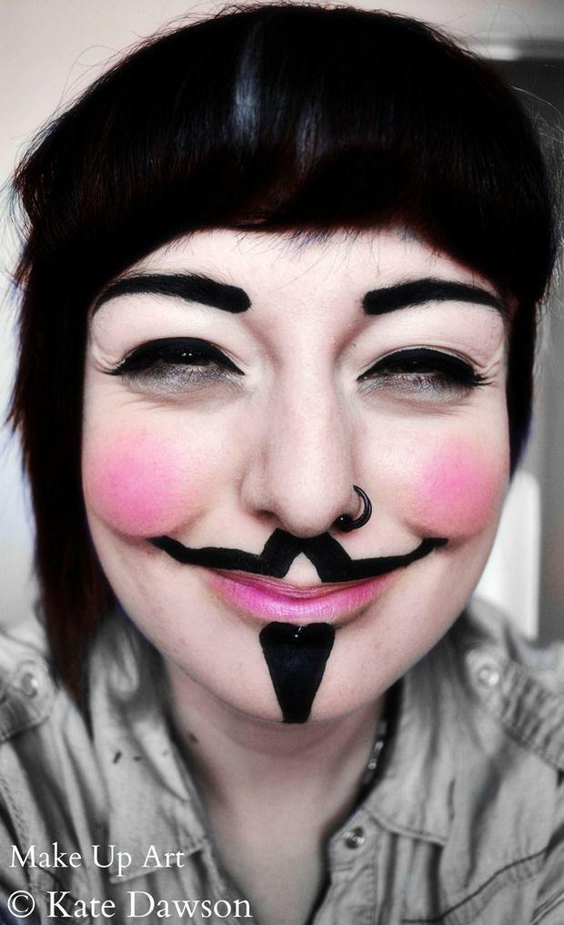 Guy Fawke , V for Vendeta make-up mask - Halloween make-up ...