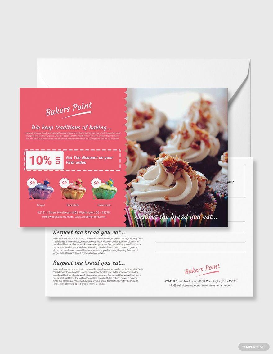 Free Bakery Postcard Template Psd Illustrator Postcard Template Postcard Template Free Postcard