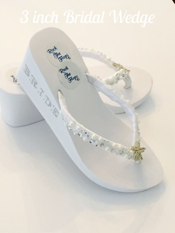 1b1f0a3956a32 White Wedding Flip Flops. Bridal FlipFlops.Wedding Shoes.Bridal Shoes.Rhinestone  Bridal Shoes.Beach Wedding.High Wedges.