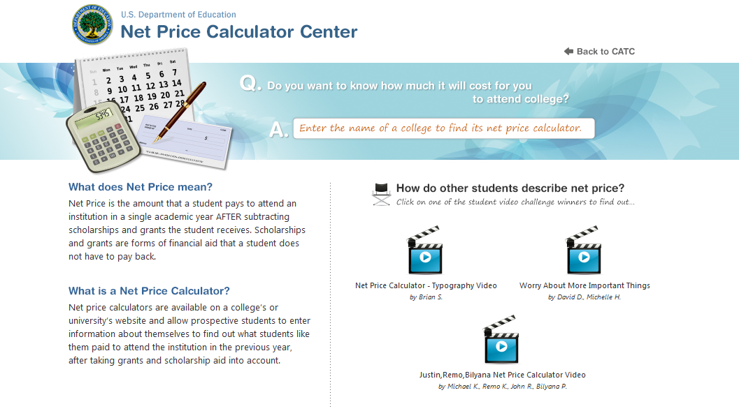 Net Price Calculators Are Available On A CollegeS Or UniversityS