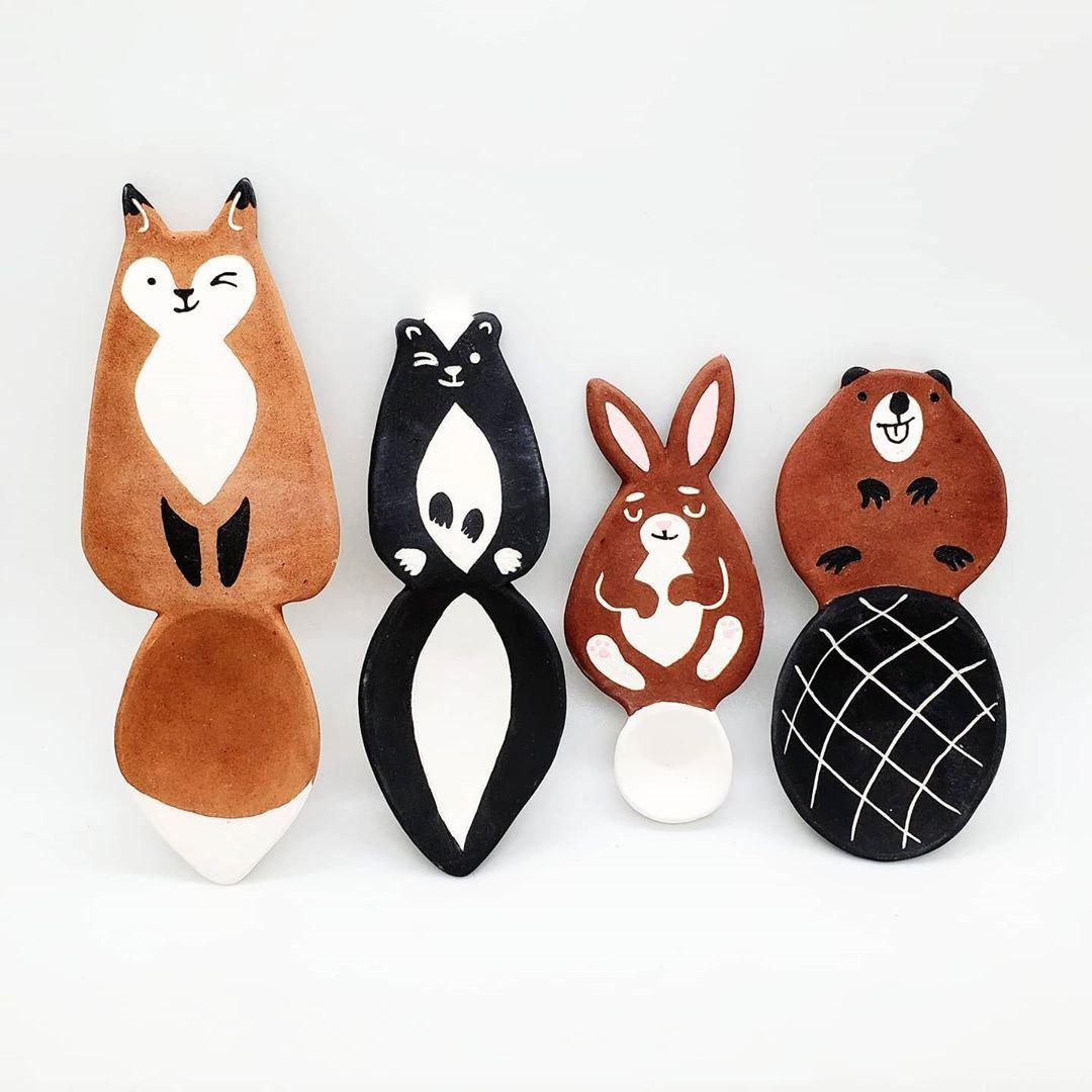 "Milo Berezin on Instagram: ""More woodland scoops bisqued! A bigger fox and a few new critters. . . . #ceramics #handmadeceramics #woodlandcreatures #animalillustration…"""
