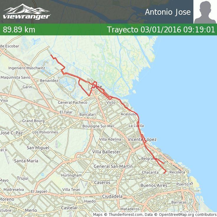 Estoy compartiendo mi trayecto  contigo. Distancia total 89.89 km