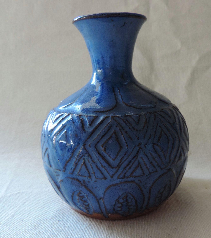 Retro mid century studio pottery blue vase carved pattern