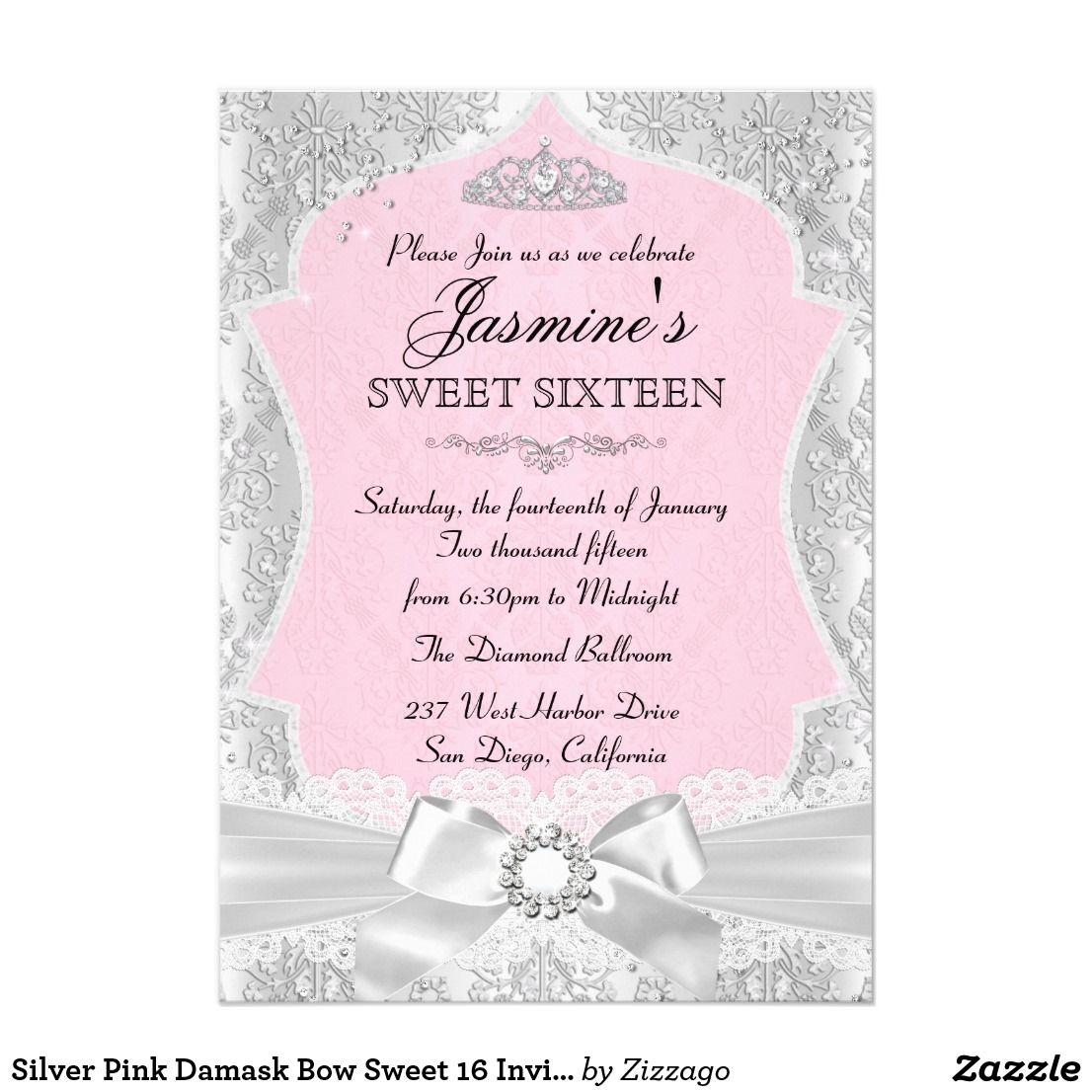 Silver Pink Damask Bow Sweet 16 Invitation | Invitation cards ...