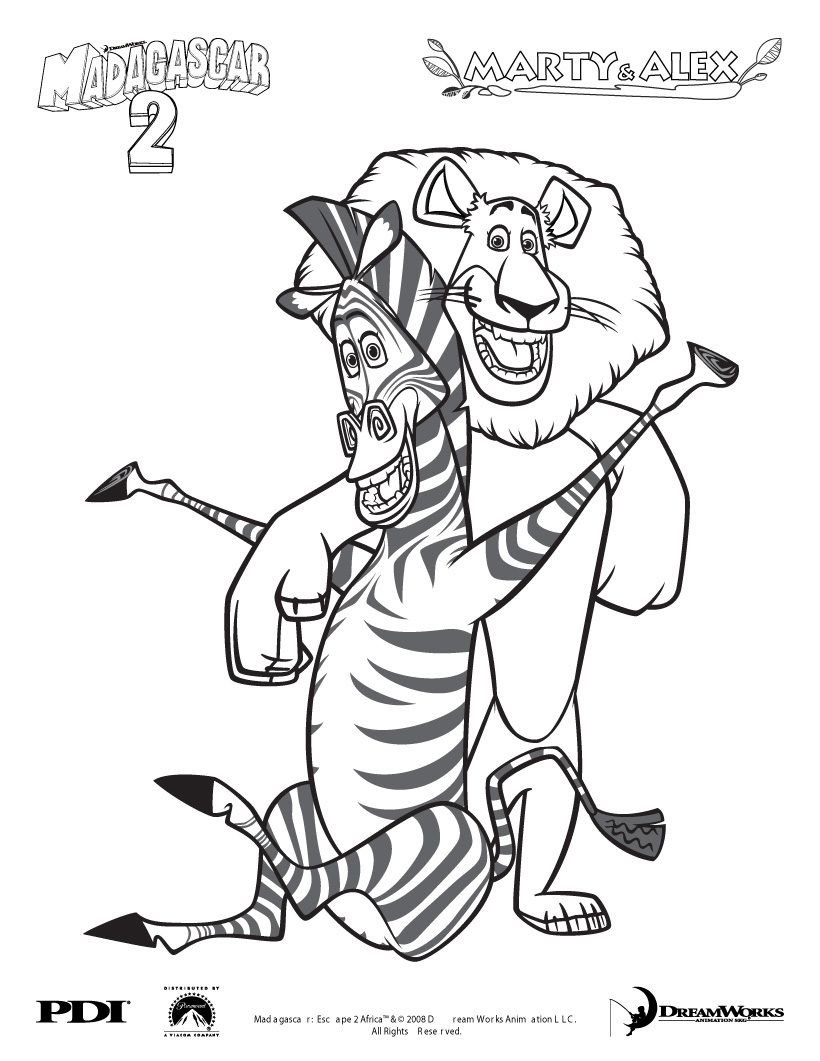 Madagascar 3 coloring pages - Madagascar 2 Marty And Alex Coloring Page Coloring Famous Character Coloring Pages