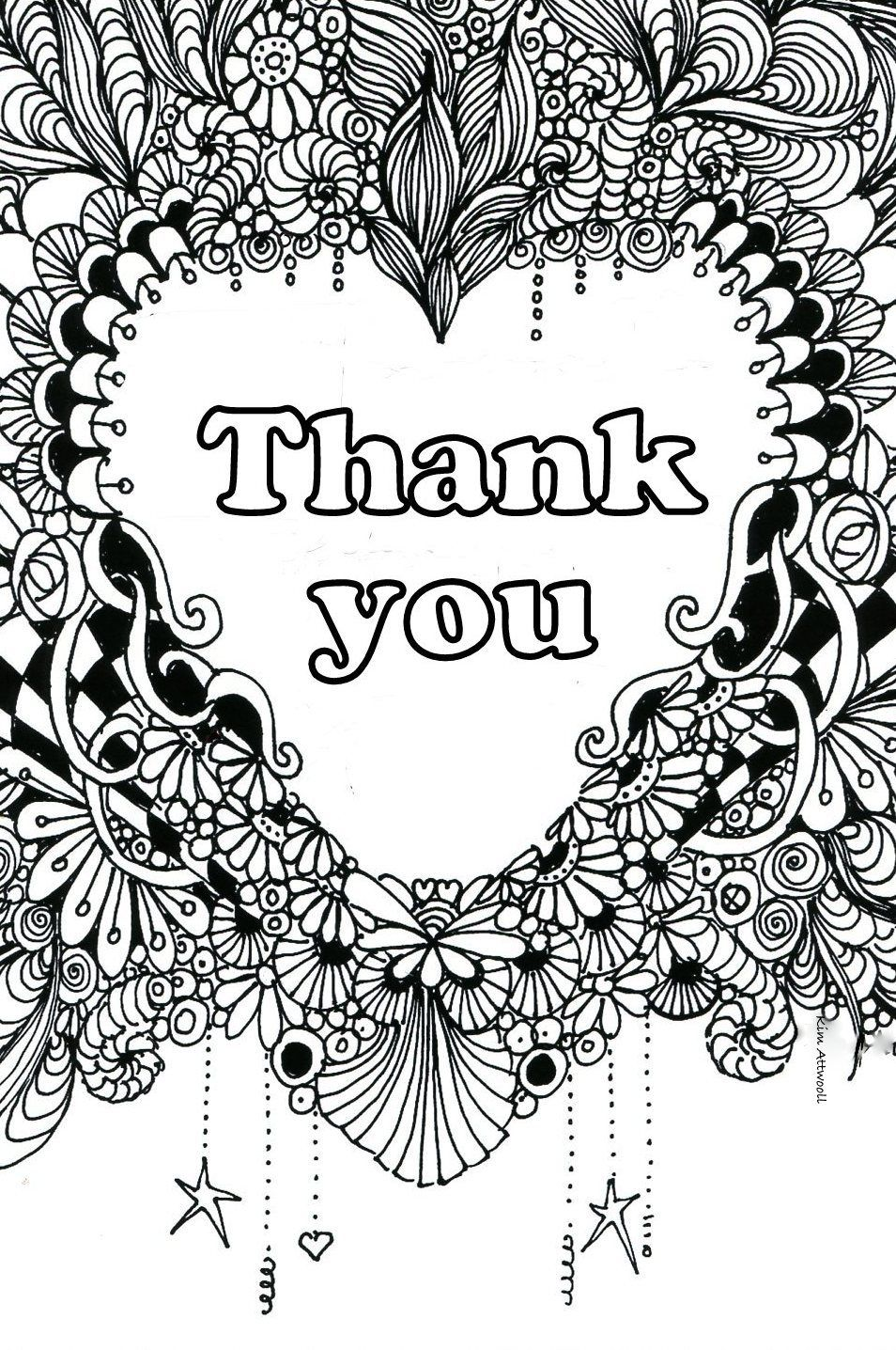 Thank You Doodle Card By Kim Attwooll Color Card Quote Coloring Pages Cards