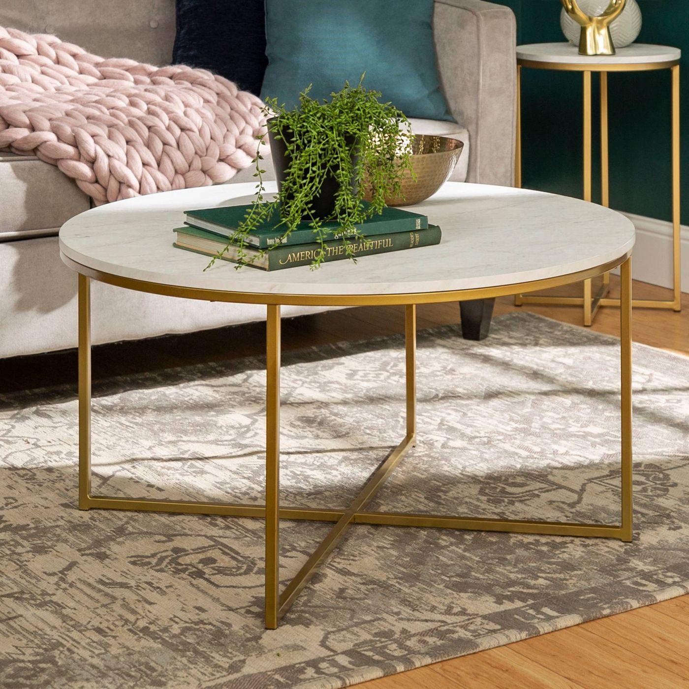 Vivian Glam X Leg Round Coffee Table Faux Marble Saracina Home Coffee Table Round Coffee Table Saracina Home [ 1400 x 1400 Pixel ]
