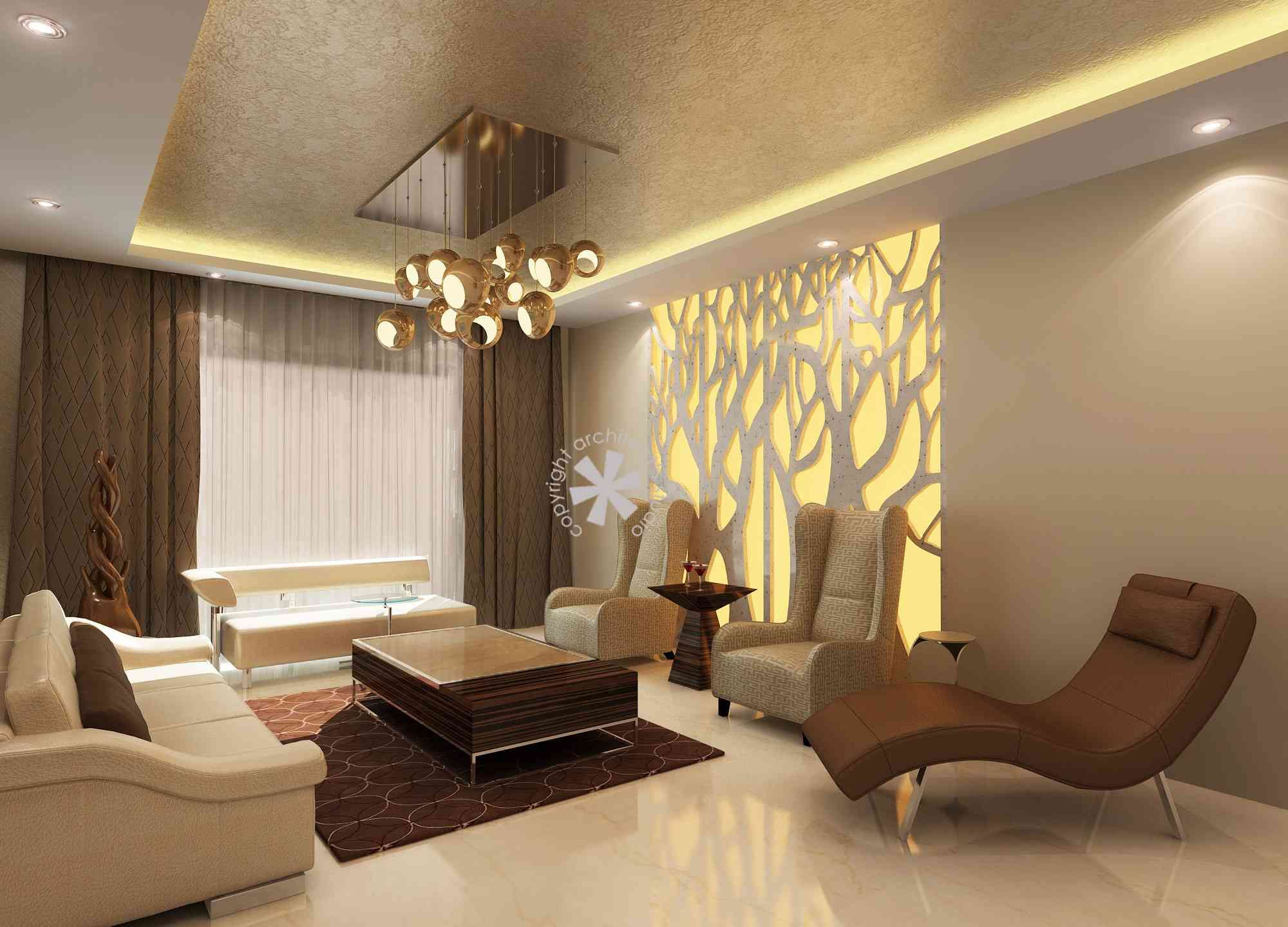Living Room with Chandelier design by Architects' Studio ...