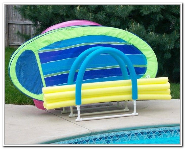 Pool Float Storage Rack With Outdoor Solution And