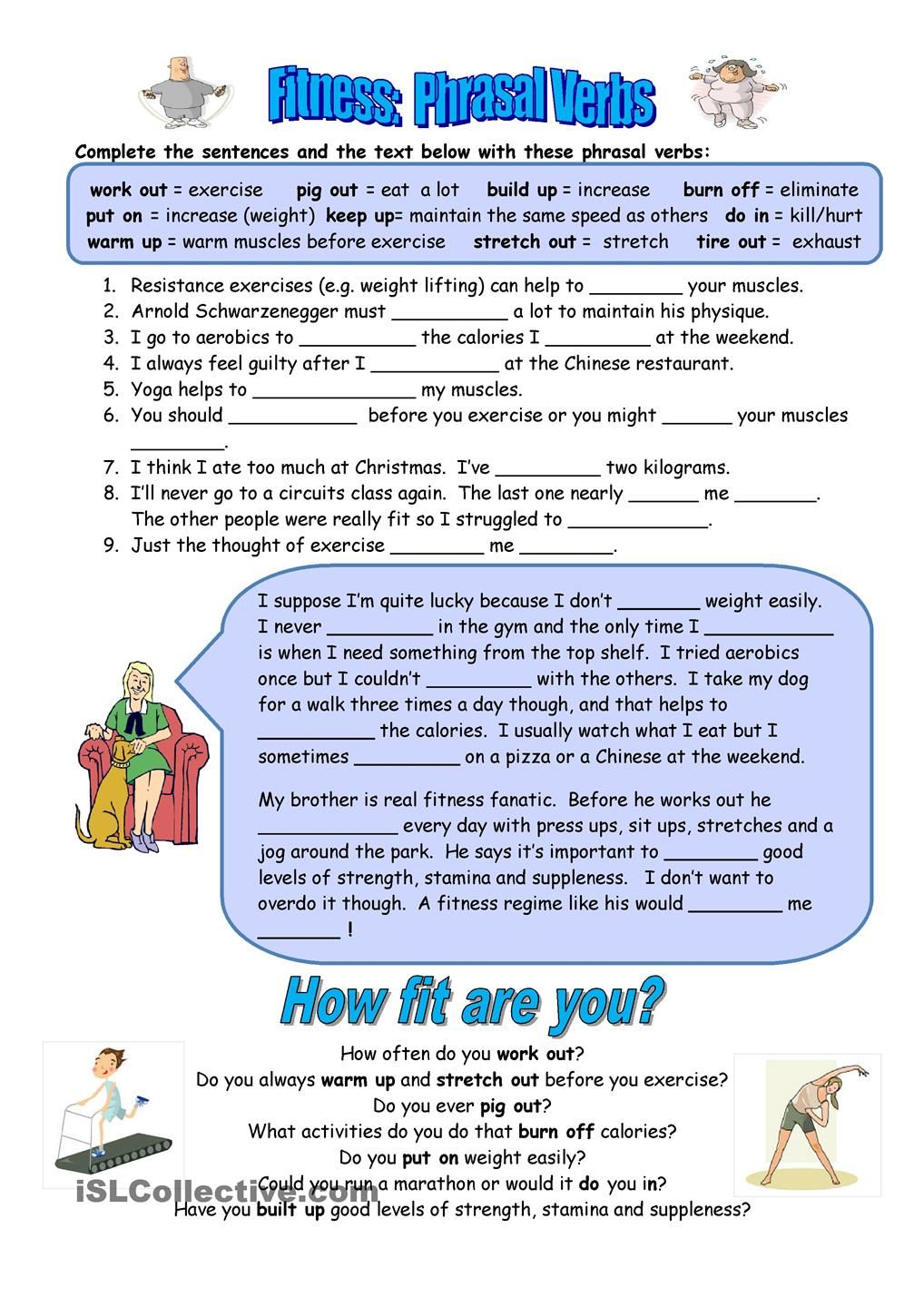 Fitness Phrasal Verbs Verb worksheets, Exercise for kids